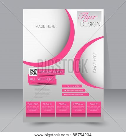 Flyer template. Business brochure. Editable A4 poster for design education presentation website magazine cover. Pink color. poster