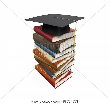 Graduation Cap and Books
