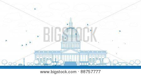 Outline Washington DC Capitol landscape, USA Vector illustration