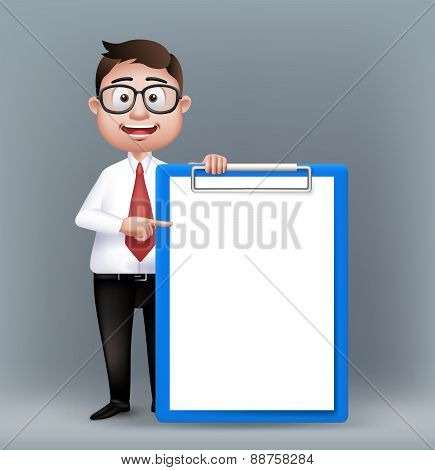 Realistic Smart Professional or Business Man Character