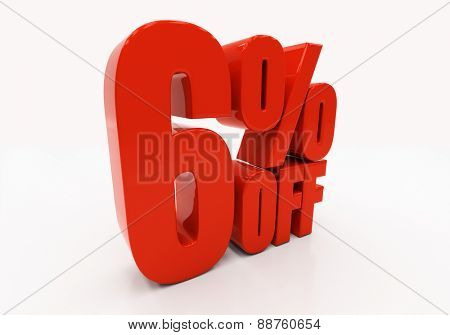 6 percent off. Discount 6. 3D illustration