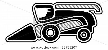 Harvester. Icon of combine harvester. Isolated vector poster