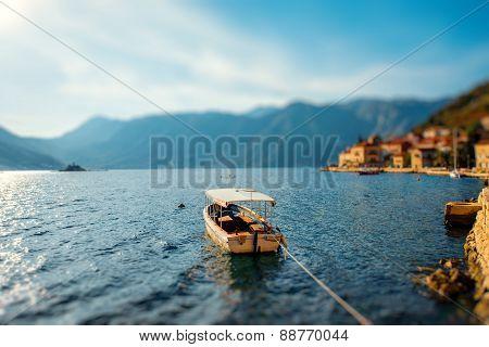 Lonely boat in Kotor bay