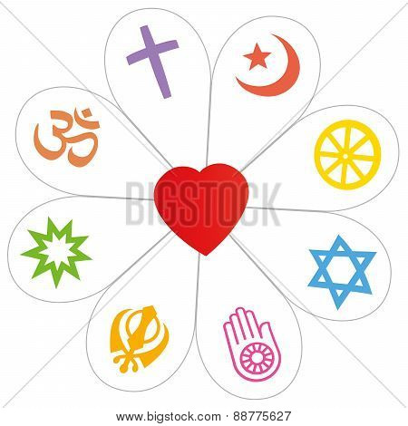 Religions Peace Flower Heart Symbol