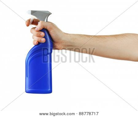 Male hand with sprayer isolated on white background