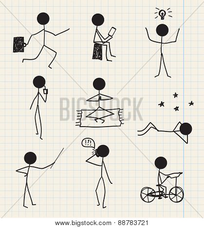 vector stick man, figure hand drawn daily life