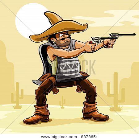 mexican bandit with gun in prairie