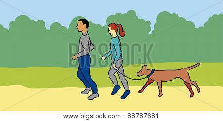 Man and woman with pet dog enjoying a jog outside, blue clothing poster