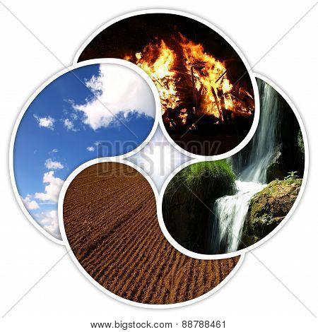 Vier Elemente - Feuer Wasser Erde Luft