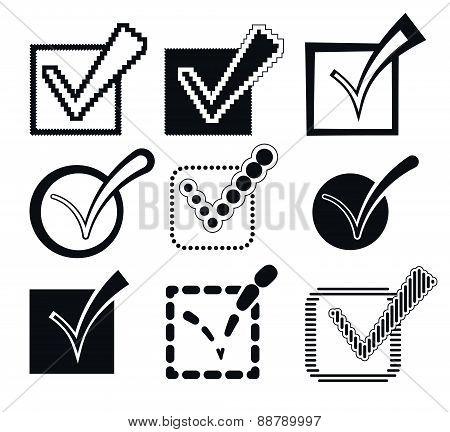 Check Mark Icons, Vector Illustration