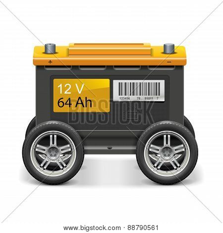 Vector Car Battery On Wheels