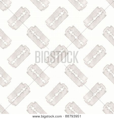 Razor. Seamless watercolor pattern with stainless razor on the white background, aquarelle. Vector i