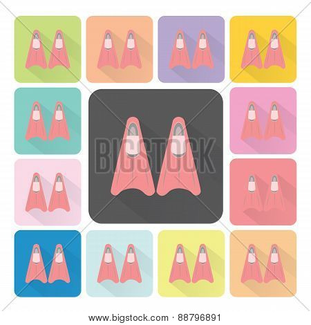 Fin Icon Color Set Vector Illustration