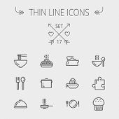 Food thin line icon set for web and mobile. Set includes- cupcakes, spoon and fork, plate, kettle, casserole, hot meal, frying pan icons. Modern minimalistic flat design. Vector dark grey icon on poster