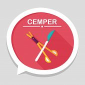Surgical Instrument Flat Icon With Long Shadow, stylish colors of vector illustration. poster