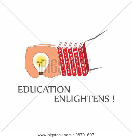 A bulb in a hand.Books following the palm certainly shows where there is education there is enlightenment. poster