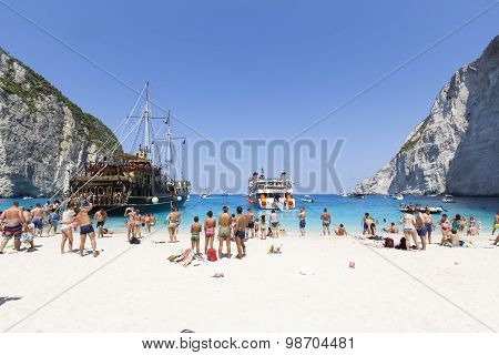 View Of Navagio (shipwreck) Beach In Zakynthos