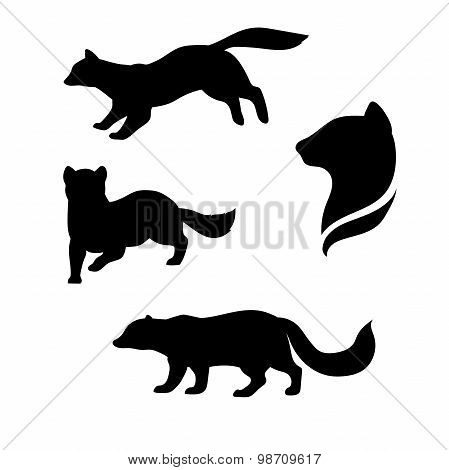 Sable animal vector silhouettes .