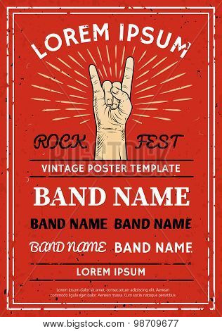 Vintage Rock Festival Poster, Flyer With Rock And Roll Hand Sign