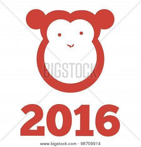 Vector monkey of 2016 year