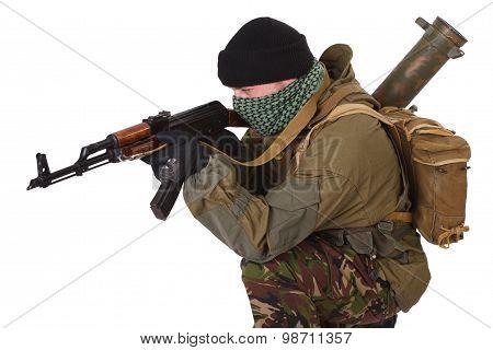 terrorist with kalashnikov rifle launcher isolated on white background poster