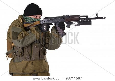 Insurgent Wearing Shemagh With Kalashnikov Rifle