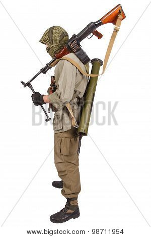 Insurgent Wearing Keffiyeh With Machine Gun