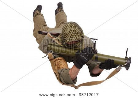 Insurgent Wearing Keffiyeh  With Anti-tank Rocket Launcher