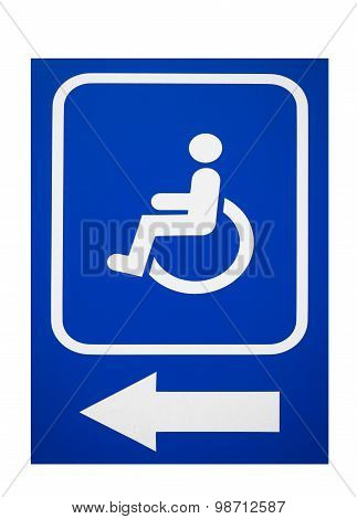 The sign Parking Space or Building entrance with ramp for Disabled People isolated on white