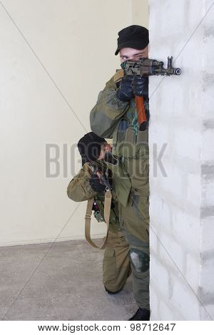Mercenary With Ak Rifle Inside The Building
