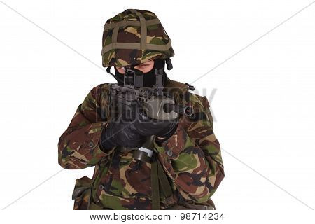 British Army Soldier with assault rifle isolated on white poster