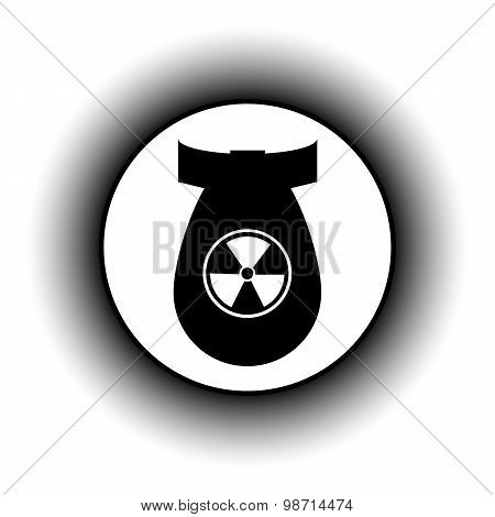 Bomb button on white background. Vector illustration. poster