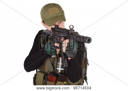 mercenary with mp5 submachine gun isolated on white poster