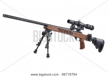 Sniper rifle on bipod isolated on white background