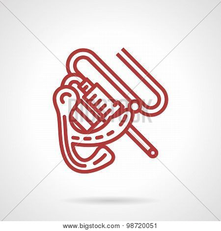 Induction tattoo machine red line vector icon