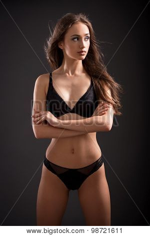 Portrait of a beautiful slim brunette woman in lingerie. poster