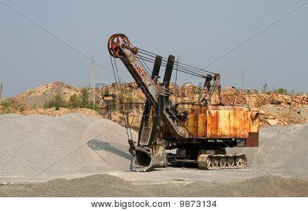 Excavator in an opencast mine