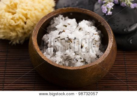 Homemade Skin Exfoliant (skin Scrub) Of Sea Salt, Olive Oil And Lavender Flowers