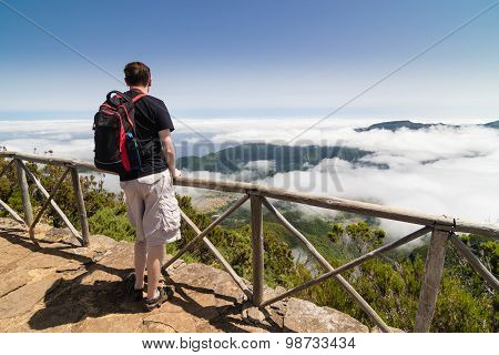 Man Standing On A Viewpoint In Madeira