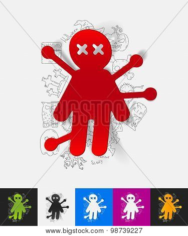 voodoo Doll paper sticker with hand drawn elements