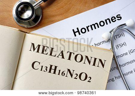 Melatonin word written on the book.