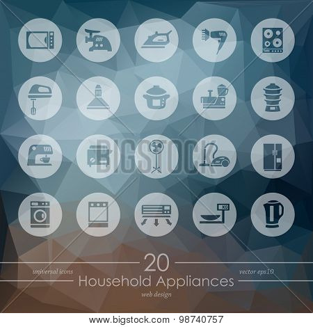 household appliances modern icons for mobile interface on blurred background poster
