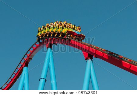 People On A Rollercoaster Ride