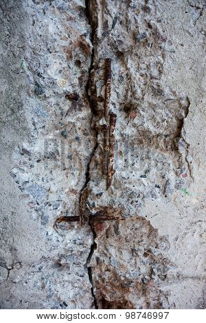Cracked Grey Concrete Surface With Visible Reinforcement