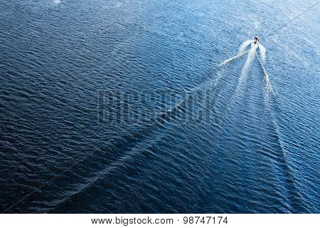The Motor Boat Floating In The Blue Dnieper Waters