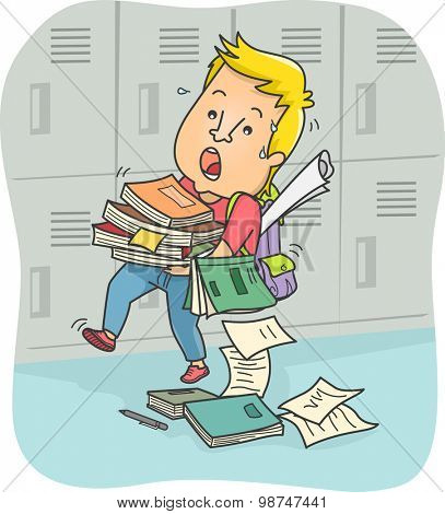 Illustration of a Male Teenager Struggling to Carry a Stack of Books