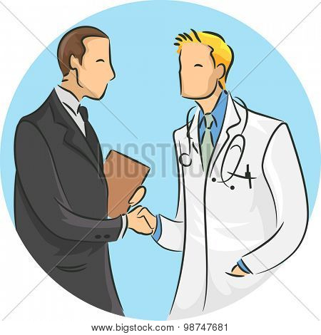 Illustration of a Doctor Shaking Hands with a Medical Sales Representative