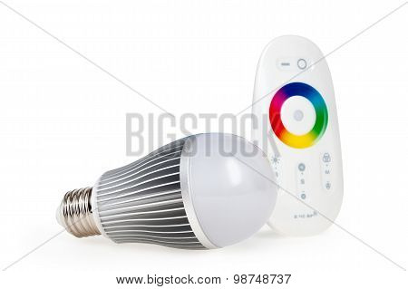 Economical LED colored E27 light with remote control isolated on white background with clipping path poster