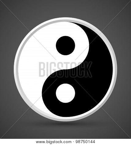 Yin Yang symbol icon isolated on dark grey background poster