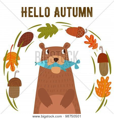 Vector Autumn Card With Wreath From Leaves And Acorns. Vintage Autumn Card With Cute Bearl And Text